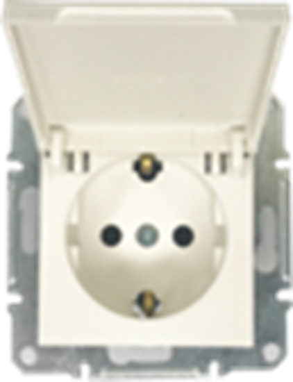 Picture of SCHUKO SINGLE SOCKET 2P+E (s-earth) LID  PEARL WHITE