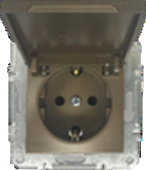 Picture of SCHUKO SINGLE SOCKET 2P+E (s-earth) LID BRONZE