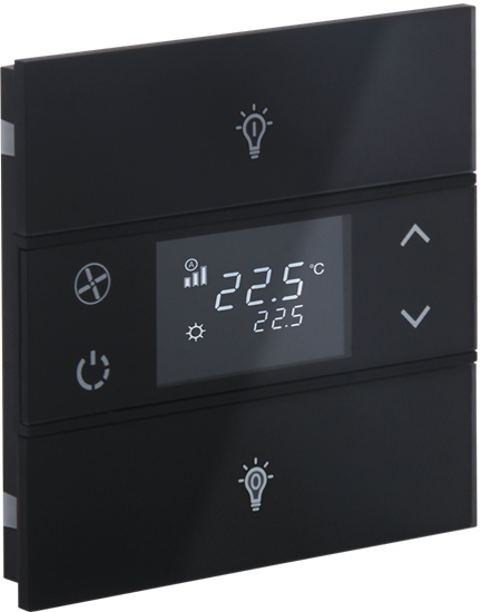 Picture of Rosa Crystal Thermostat 1F Black Status Icon