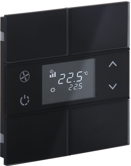 Picture of Rosa Crystal Thermostat 2F Black Status No Icon