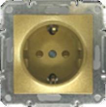 Picture of SCHUKO SINGLE SOCKET 2P+E (s-earth) SHUTTERS GOLD