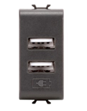 Picture of DOUBLE USB SOCKET OUTLET 1 M 2.1A ANTHRACITE