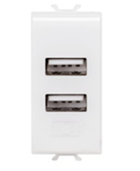 Picture of DOUBLE USB SOCKET OUTLET 1 M 2.1A PEARL WHITE