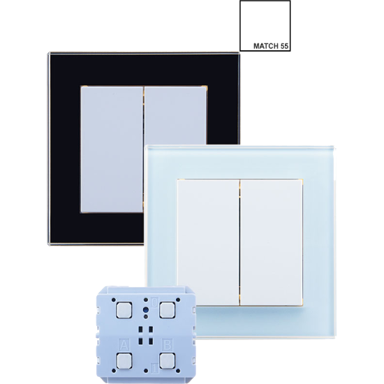 Picture of Weinzierl KNX RF - ENO Push Button 440 secure with double rocker - KNX button series MATCH 55