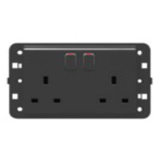 Picture of TWIN SWITCHED SOCKET BRITISH STAN.2P+E 13A ANTHRACITE