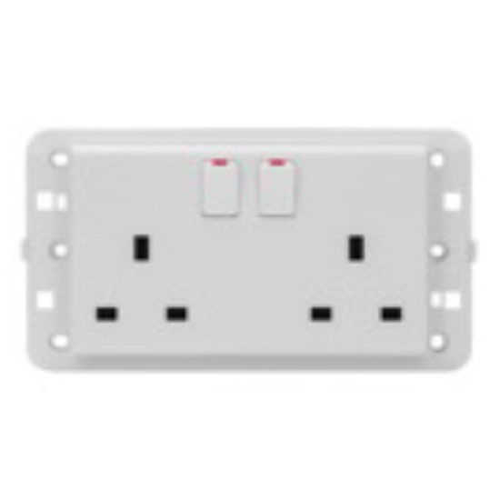 Picture of TWIN SWITCHED SOCKET BRITISH STAN.2P+E 13A PEARL WHITE