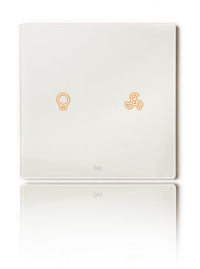 Picture of Cubik-SQ2 white Design push-button 2 areas - Temp and humidity sensor