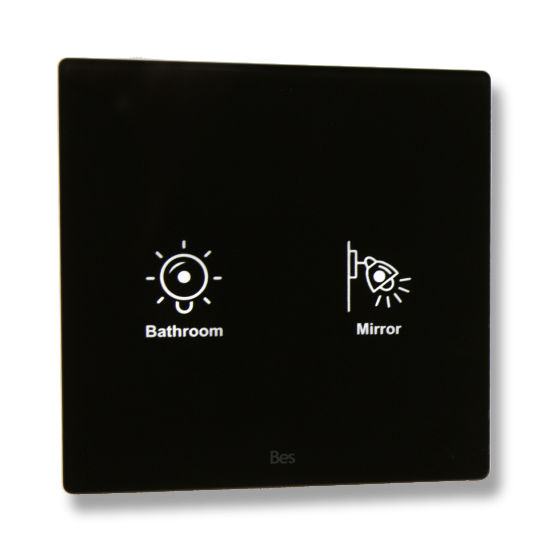 Picture of Cubik-SQ2 black Design push-button 2 areas - Temp and humidity sensor