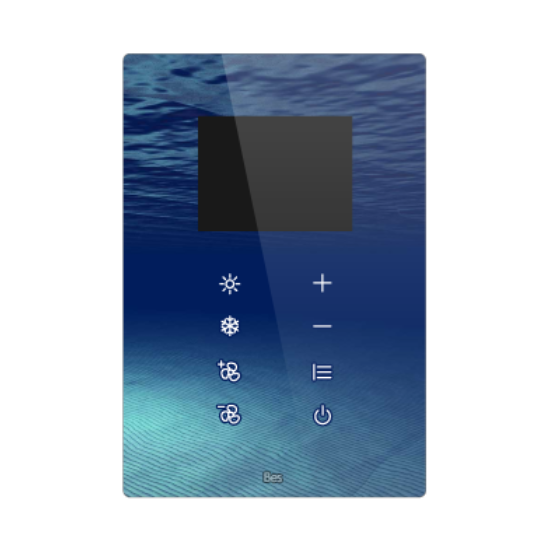 """Picture of Vertical touch panel thermostat - 2.8"""" Integrated screen - Design black"""